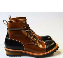 Handmade Men's Genuine Leather Ankle Boots Shoes Oxford Moto
