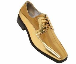 Viotti Men's Gold Dress Oxford with Striped Satin & Patent T