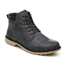 Emerayo Men's High Top Boots Men's Solid Color Round Toe Lac