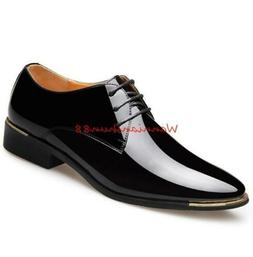 Men's Lace up Patent Leather Formal Wedding Dress  casual bu