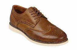 Kunsto Men's Leather Brogue Oxford Dress Shoes 12.5 Brown B