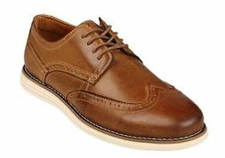 Kunsto Men's Leather Brogue Oxford Dress Shoes Brown a 12.5