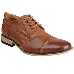 Kunsto Men's Leather Cap Toe Oxford Shoes US Size 13 Brown