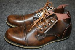 Kunsto Men's Leather Cap Toe Oxford Shoes Brown 10.5