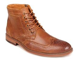 Kunsto Men's Leather Classic Brogue Boots Brown US Size 9