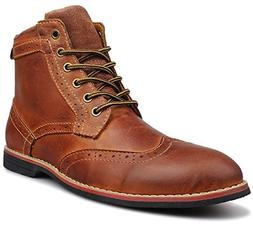 Kunsto Men's Leather Classic Brogue Boots Lace up US Size 9
