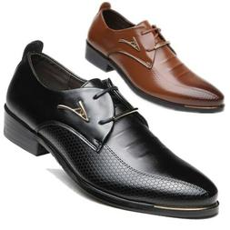 Men's Leather Shoes Dress Business Oxford Formal Lace Up Poi