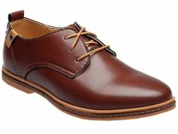 DADAWEN Men's Modern Classic Lace Up Leather Dress Oxfords S