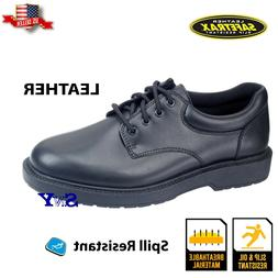 men's oxford black leather work shoe slip resistant casual s