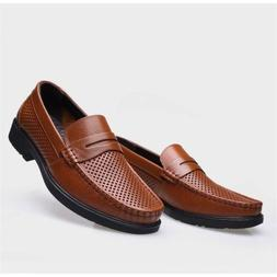 Men's Oxford Leather Casual Shoes Hollow Driving Loafers Bre