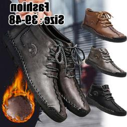 Men's Oxford Leather Casual Shoes Moccasin Velvet Combat Ank