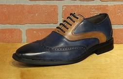 La Milano Men's Oxford Leather Navy/Cognac Wing Tip Dress Sh