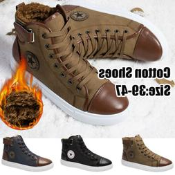 Men's Oxfords Casual Lace-Up High Top Leather Shoes Fur-line