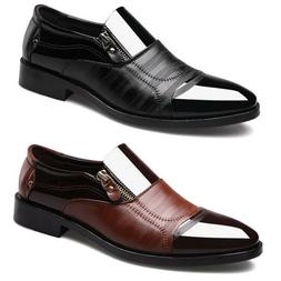 Men Formal Dress Shoes Oxfords Leather Zipper Casual Wedding