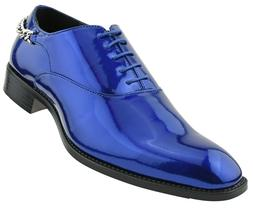 Men's Oxfords, Shiny Dress Shoes with Heel Chain, Mens Paten