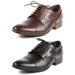 Men's Perforated Cap Toe Lace up Classic Dress Shoes