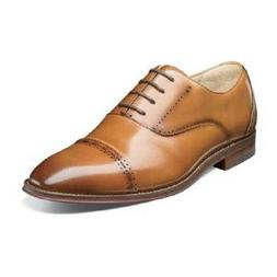 Men's Shoes Stacy Adams Barris Cap Toe Oxford Tan Leather Dr