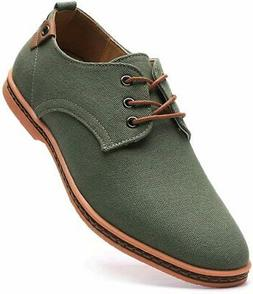 DADAWEN Men's Shoes Canvas Slip On Casual Oxfords, Green, Si