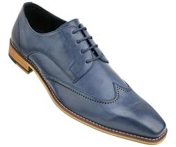 Men's Smooth Wing Tip Lace Up Oxford Dress Shoe with Perfora