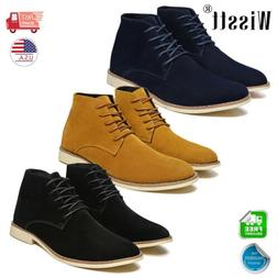 Men's Suede Leather Chelsea Chukka Dress Ankle Boots Lace Up