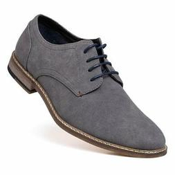 Jivana Men's Suede Oxford Dress Shoes Lace Up Grey