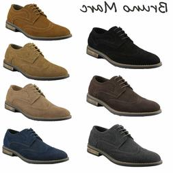BRUNO MARC NEW YORK Mens Urban Suede Leather Lace up Flats C
