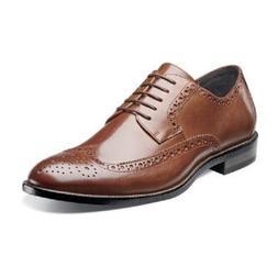 Stacy Adams Men shoes Cognac Garrison Wing Tip Lace Up Leath