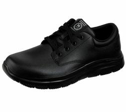 Skechers Mens 77513 Fourche Lace-Up Work Oxford Shoes Black