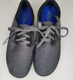 Men's 9 CROCS Santa Cruz Playa Black Canvas Lace Up Sneake