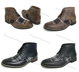 Mens Ankle Boots Wing Tip 2-Tone Plaid Lace Up Leather Lined