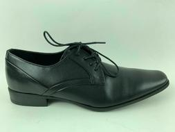 Calvin Klein Mens Benton Smooth Black Leather Oxford Formal