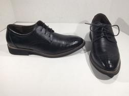 KUNSTO Mens Black Leather Lace Up Oxfords Shoes Size About 1