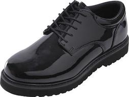 Mens Black Shiny Uniform Shoes Polished Oxford with Work Sol