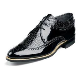 Stacy Adams Mens Black Shoes Dayton Wing Tip Oxford Leather