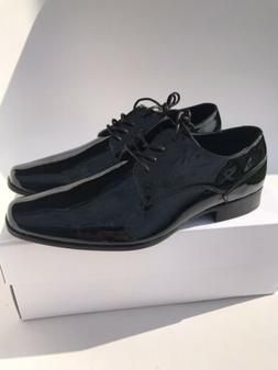 Calvin Klein Mens Brodie Patent Leather Dress Shies Black Si