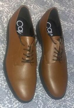 Calvin Klein Mens Brushed Tan Leather Oxford Lace Up Shoes S