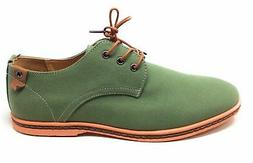 Dadawen Mens Casual Canvas Oxford Dress Shoe Green Size 11.5