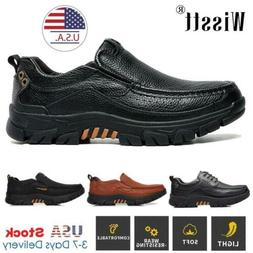 Mens Genuine Leather Loafers Shoes Slip-on Formal Business D