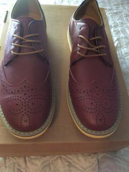 Mens Kunsto Genuine Leather Oxford Dress Shoes Brown Size 11