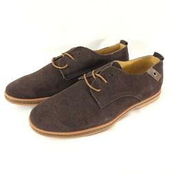 Kunsto Mens Oxford Lace Up Suede Dress Shoes Dark Brown Size