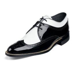 Stacy Adams Mens Shoes Dayton Black White Dress Wing Tip Oxf