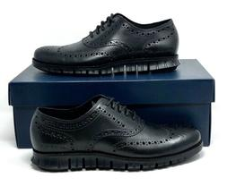 Cole Haan Mens Size 7M Zerogrand Black-Black Leather Wingtip