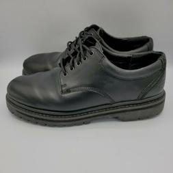 Men's Skechers Sz 9.5 Black Leather Lace Up Non Slip Oxfor