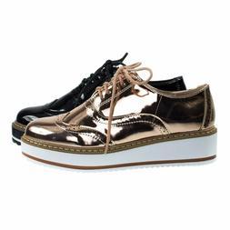 Mick1 Platform Creepers Brogues Oxford Shoes, Women's Wingti