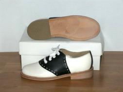 Muffy's BLACK/white leather Swing Saddle Shoes Women's sizes
