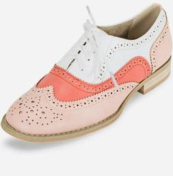 "NEW Wanted ""Babe"" Lace Up Oxfords- White & Coral-Womens"