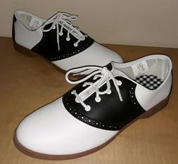 New Predictions Black and White Saddle Oxford Shoe Women's 1