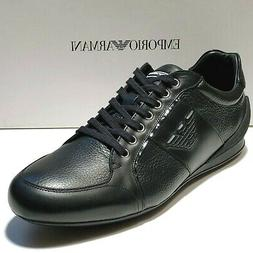 NEW Armani Black Men's Sneakers Sport Oxford Leather Shoes 1