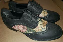 NEW Wanted black women's Oxford shoes black Victorian tapest