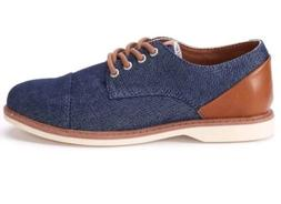 NEW Boys Size 1 Sonoma Oxford Shoes Denim Navy Blue Brown Dr